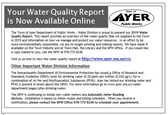 Water Quality Report is available online