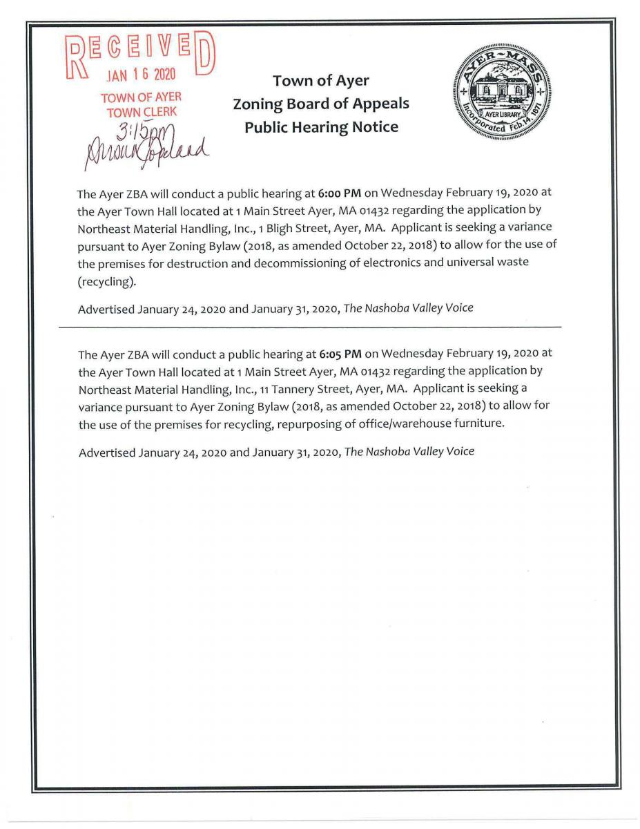Zoning Board of Appeals Public Hearing Notice for February 19, 2020 6pm