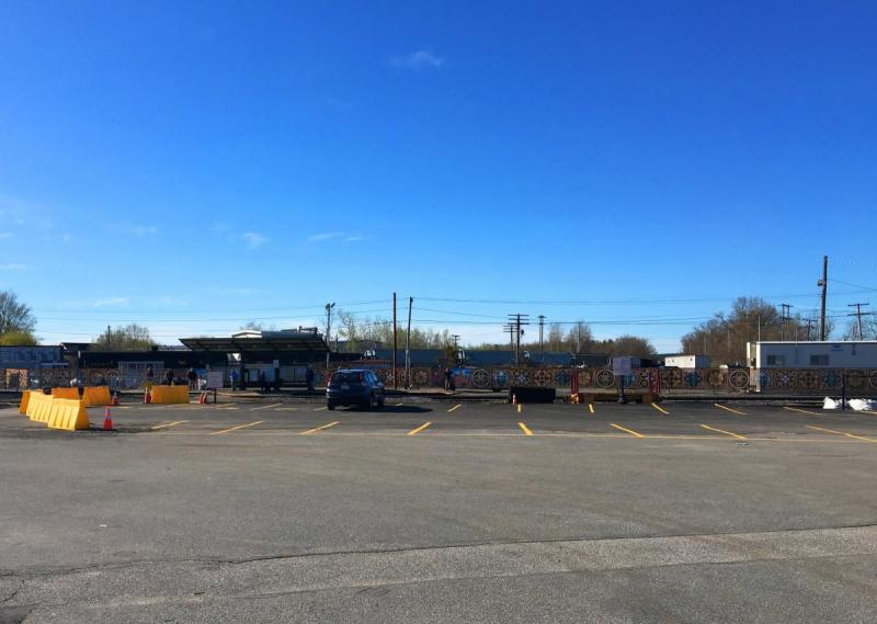 Looking towards Waiting Station NEW Temporary Commuter Rail Parking at Depot Sq.